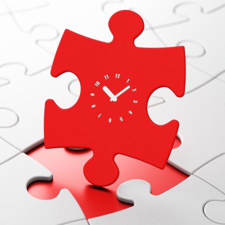 Timeline concept: Clock on Red puzzle pieces background, 3d render photo