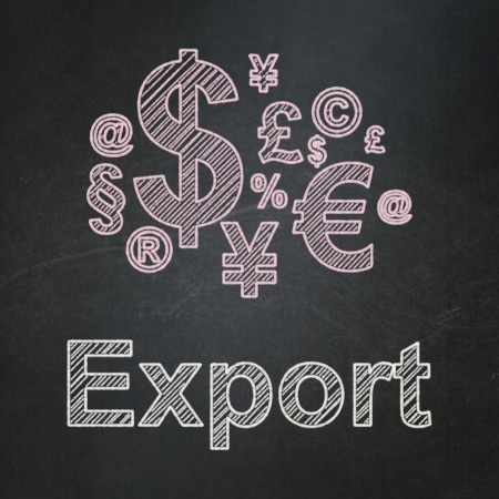 busines: Business concept: Finance Symbol icon and text Export on Black chalkboard background, 3d render