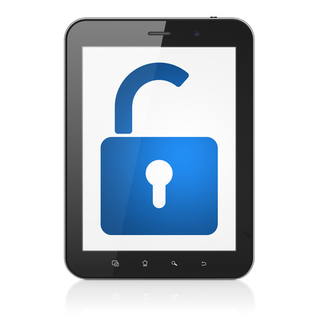 Safety concept: black tablet pc computer with Opened Padlock icon on display. Modern portable touch pad on White background, 3d render Stock Photo - 25062306