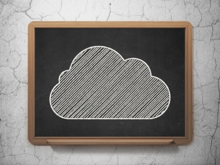 Cloud technology concept: Cloud icon on Black chalkboard on grunge wall background, 3d render photo