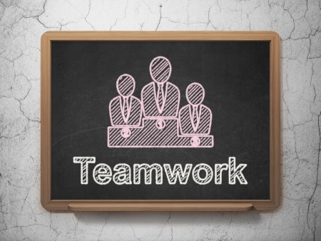 Finance concept: Business Team icon and text Teamwork on Black chalkboard on grunge wall background, 3d render photo