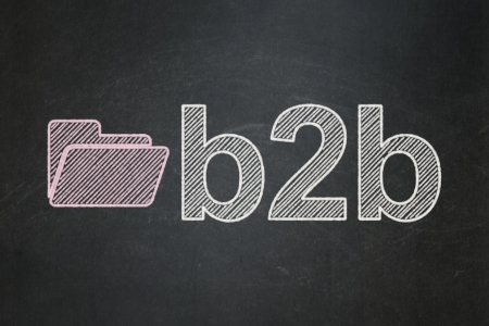 Business concept: Folder icon and text B2b on Black chalkboard background, 3d render photo