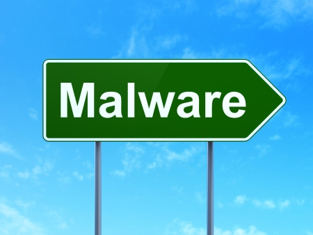 Safety concept: Malware on green road (highway) sign, clear blue sky background, 3d render Stock Photo - 25062588