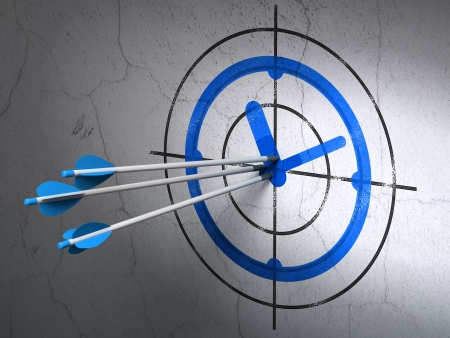 Success timeline concept: arrows hitting the center of Blue Clock target on wall background, 3d render photo