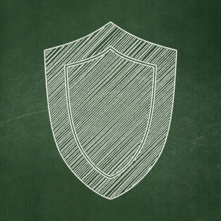 Protection concept: Shield icon on Green chalkboard background, 3d render photo