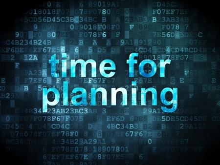 cronologia: Concepto de línea de tiempo: las palabras pixelados Tiempo de Planificación sobre fondo digital, 3d
