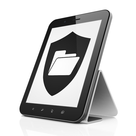 Business concept: black tablet pc computer with Folder With Shield icon on display. Modern portable touch pad on White background, 3d render photo