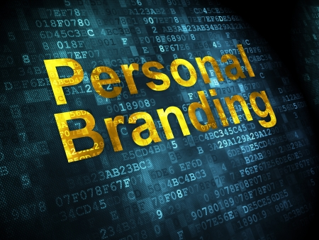 Advertising concept: pixelated words Personal Branding on digital background, 3d render photo