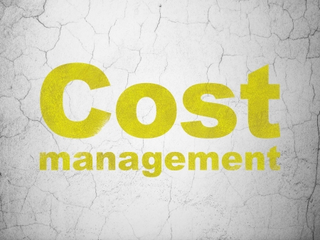 busines: Finance concept: Yellow Cost Management on textured concrete wall background, 3d render