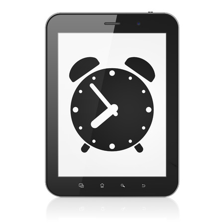 Time concept: black tablet pc computer with Alarm Clock icon on display. Modern portable touch pad on White background, 3d render Stock Photo - 25062841