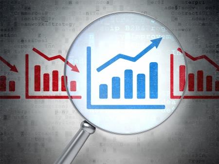 Finance concept: la loupe optique avec des icônes de graphique sur fond numérique, rendu 3d
