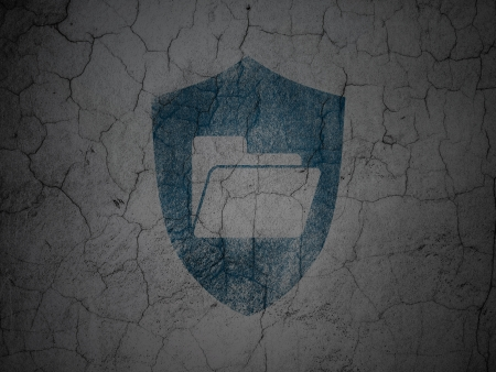 busines: Finance concept: Blue Folder With Shield on grunge textured concrete wall background, 3d render