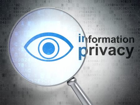 Privacy concept: magnifying optical glass with Eye icon and Information Privacy word on digital background, 3d render photo