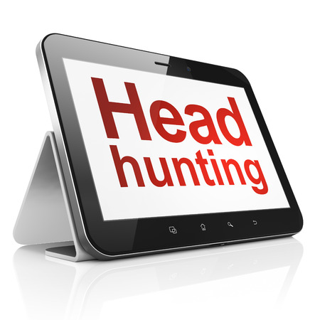 Finance concept: black tablet pc computer with text Head Hunting on display. Modern portable touch pad on White background, 3d render Stock Photo - 25062894