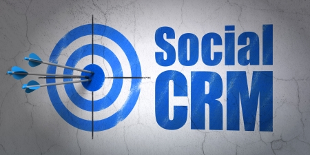 Success finance concept: arrows hitting the center of target, Blue Social CRM on wall background, 3d render photo