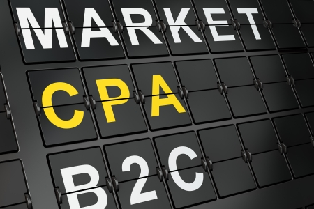 cpa: Business concept: CPA on airport board background, 3d render Stock Photo