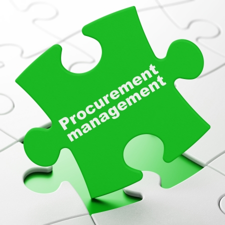 brainteaser: Finance concept: Procurement Management on Green puzzle pieces background, 3d render
