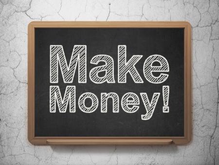 busines: Business concept: text Make Money! on Black chalkboard on grunge wall background, 3d render