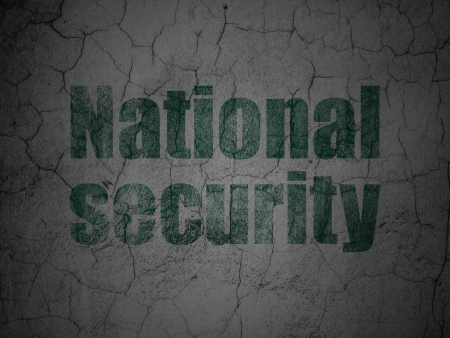 Protection concept: Green National Security on grunge textured concrete wall background, 3d render photo