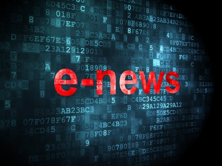 News concept: pixelated words E-news on digital background, 3d render photo