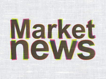 News concept: CMYK Market News on linen fabric texture background, 3d render photo
