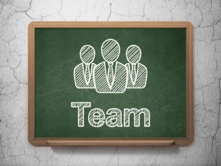Finance concept: Business People icon and text Team on Green chalkboard on grunge wall background, 3d render photo