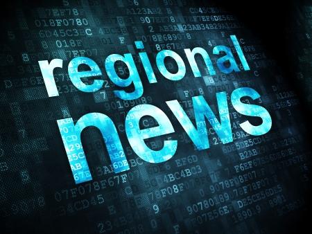 regional: News concept: pixelated words Regional News on digital background, 3d render Stock Photo