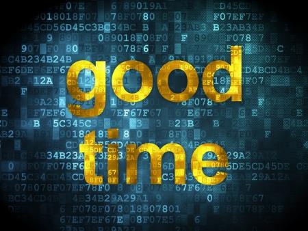 Timeline concept: pixelated words Good Time on digital background, 3d render photo