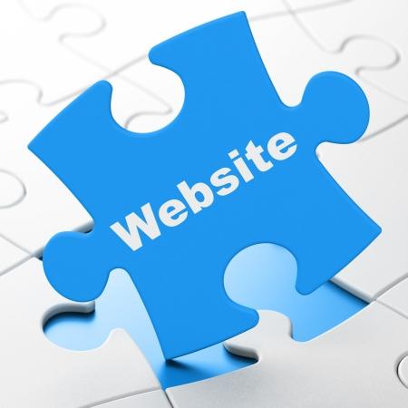 Web development concept: Website on Blue puzzle pieces background, 3d render photo