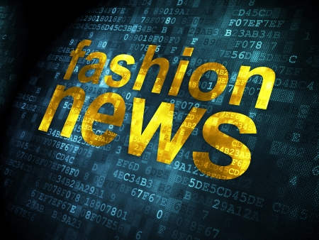 News concept: pixelated words Fashion News on digital background, 3d render photo
