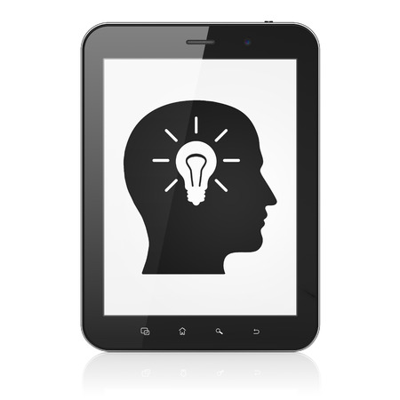 busines: Business concept: black tablet pc computer with Head With Light Bulb icon on display. Modern portable touch pad on White background, 3d render