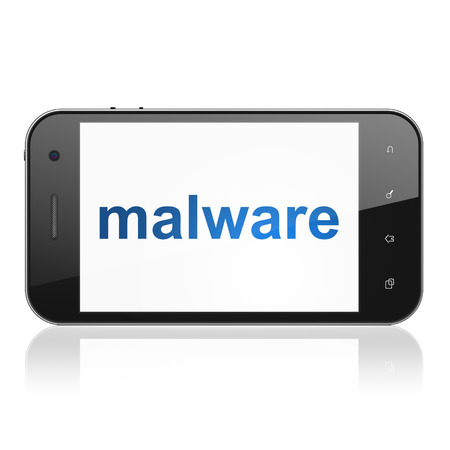 Privacy concept: smartphone with text Malware on display. Mobile smart phone on White background, cell phone 3d render photo
