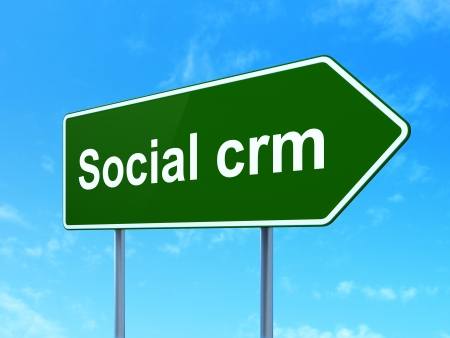 busines: Business concept: Social CRM on green road (highway) sign, clear blue sky background, 3d render Stock Photo