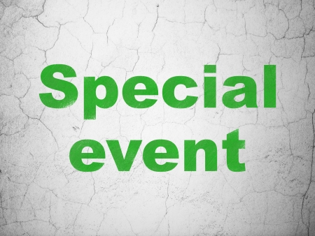 buisnes: Business concept: Green Special Event on textured concrete wall background, 3d render