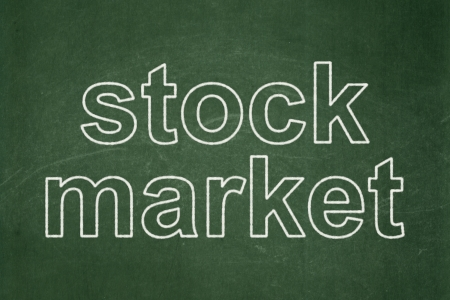 Business concept: text Stock Market on Green chalkboard background, 3d render photo