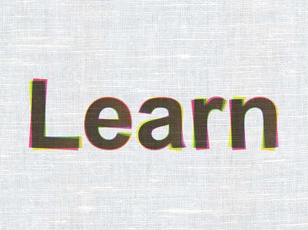 teaching material: Education concept: CMYK Learn on linen fabric texture background, 3d render