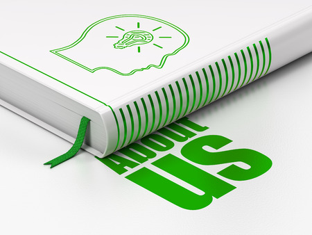 Advertising concept: closed book with Green Head With Lightbulb icon and text About Us on floor, white background, 3d render
