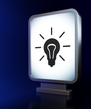 busines: Business concept: Light Bulb on advertising billboard background, 3d render