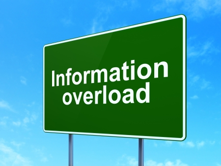 Data concept: Information Overload on green road (highway) sign, clear blue sky background, 3d render photo