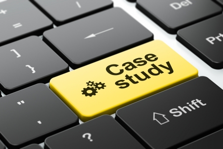 the case selected: Education concept: computer keyboard with Gears icon and word Case Study, selected focus on enter button, 3d render