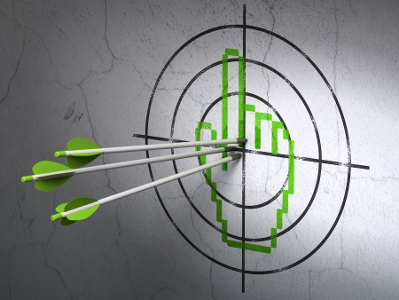 Success web development concept: arrows hitting the center of Green Mouse Cursor target on wall background, 3d render photo