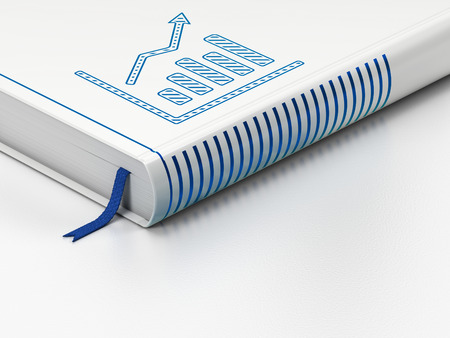 News concept: closed book with Blue Growth Graph icon on floor, white background, 3d render photo