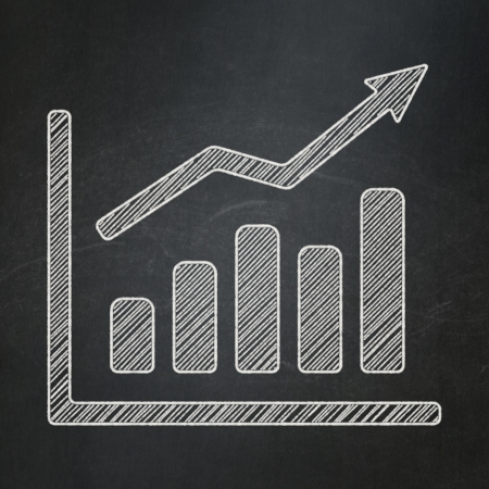 Advertising concept: Growth Graph icon on Black chalkboard background, 3d render photo