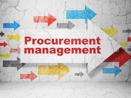 Business concept:  arrow with Procurement Management on grunge textured concrete wall background, 3d render photo