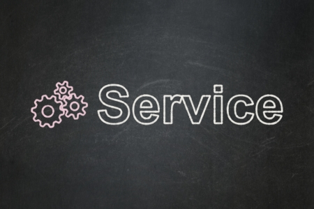 busines: Business concept: Gears icon and text Service on Black chalkboard , 3d render