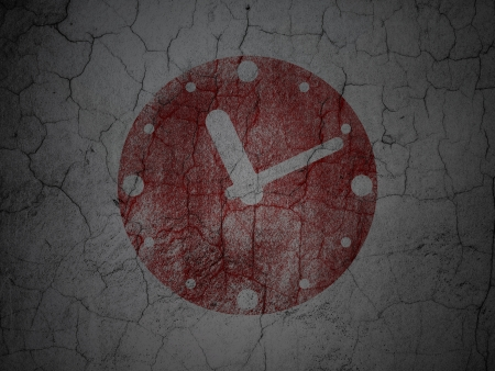 Timeline concept: Red Clock on grunge textured concrete wall , 3d render photo