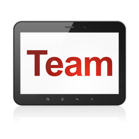 Finance concept: black tablet pc computer with text Team on display. Modern portable touch pad on White , 3d render photo