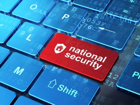 Protection concept: computer keyboard with Shield icon and word National Security on enter button , 3d render
