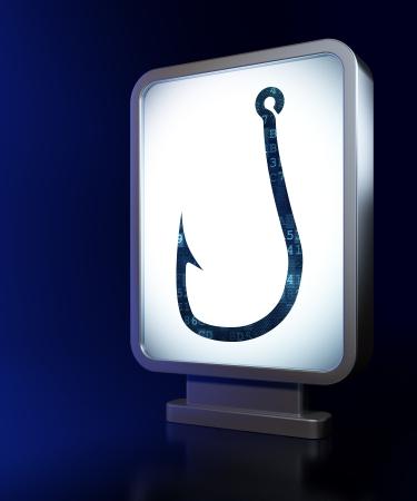 Security concept: Fishing Hook on advertising billboard , 3d render