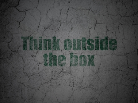 Education concept: Green Think outside The box on grunge textured concrete wall , 3d render photo